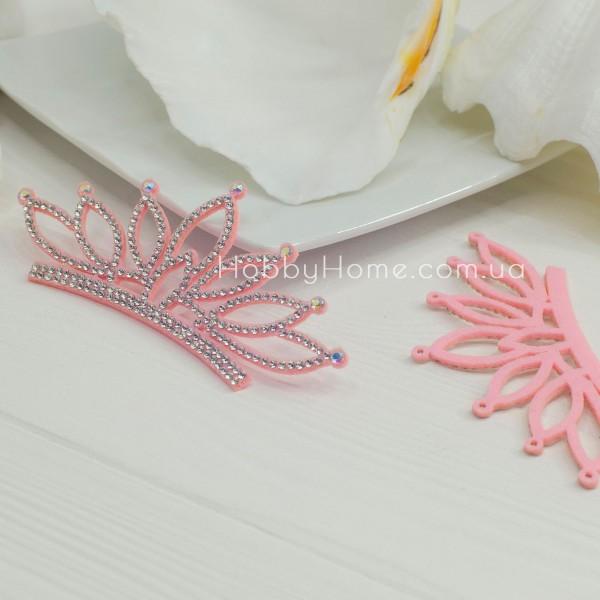 Корона Принцеса зі стразами на фетрі , рожева