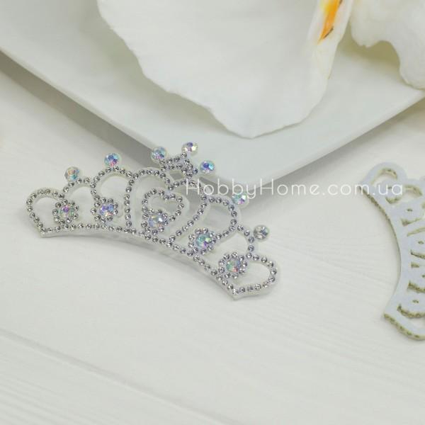 Корона Фигурная со стразами на фетре , серебро