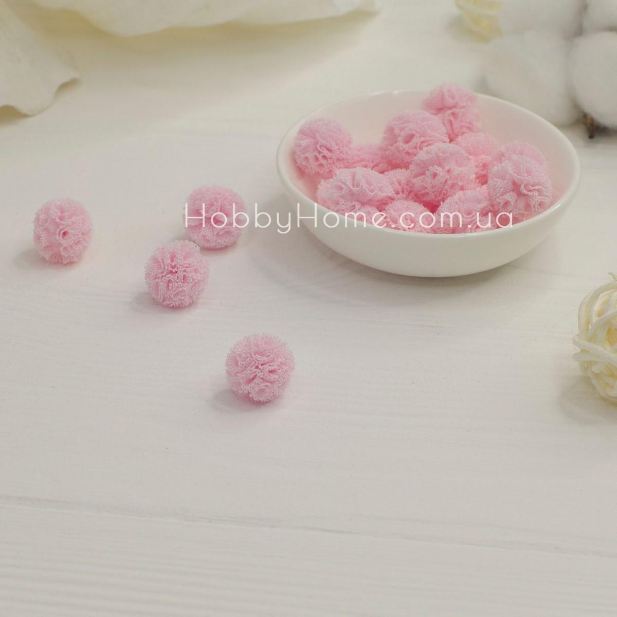 Помпони фатинові 1,5см , ніжно рожеві