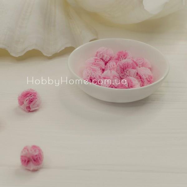 Помпон фатиновый двухцветный 1,5см , нежно розовый + малина