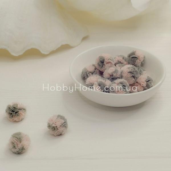 Помпон фатиновый двухцветный 1,5см , розовый + серый
