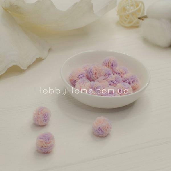 Помпон фатиновый двухцветный 1,5см , розовый + сиреневый