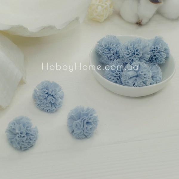Помпони фатинові 2,5см , блакитні